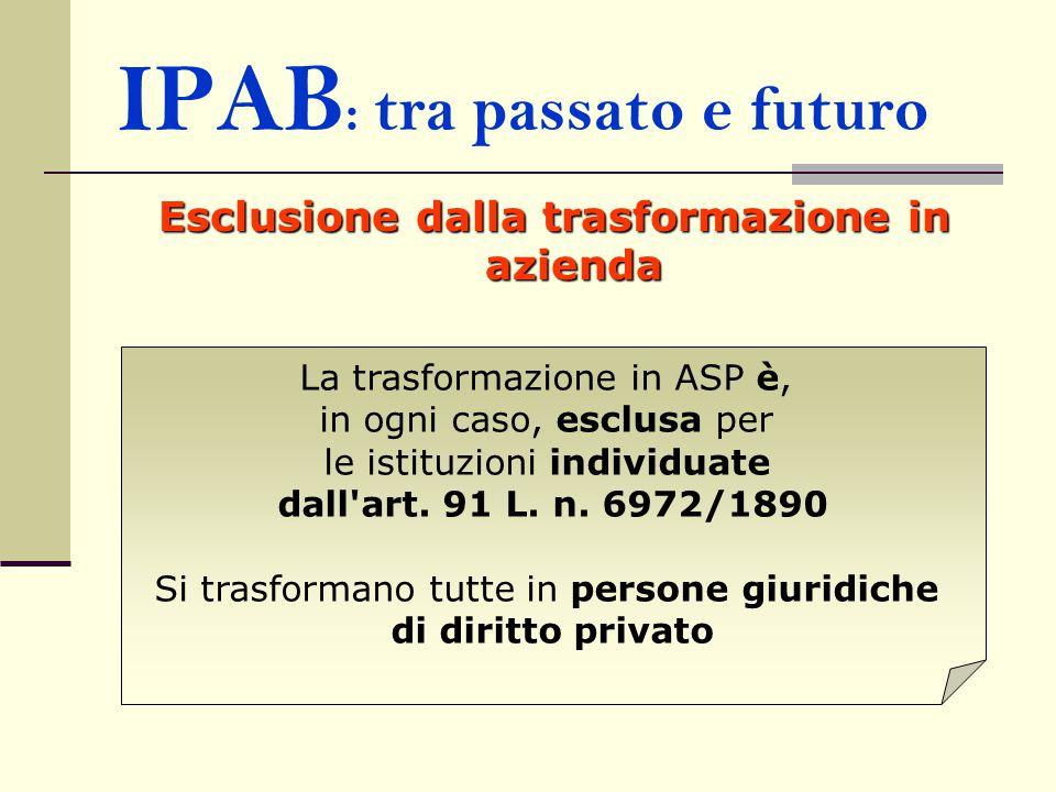 IPAB : tra passato e futuro Esclusione dalla trasformazione in azienda La trasformazione in ASP è, in ogni caso, esclusa per le istituzioni individuate dall art.