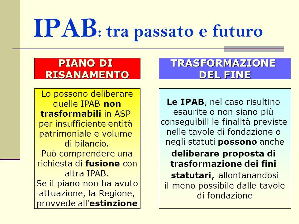 IPAB : tra passato e futuro Lo possono deliberare quelle IPAB non trasformabili in ASP per insufficiente entità patrimoniale e volume di bilancio. Può