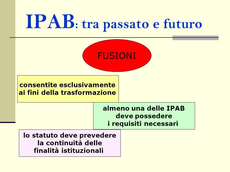 IPAB : tra passato e futuro FUSIONI consentite esclusivamente ai fini della trasformazione almeno una delle IPAB deve possedere i requisiti necessari lo statuto deve prevedere la continuità delle finalità istituzionali