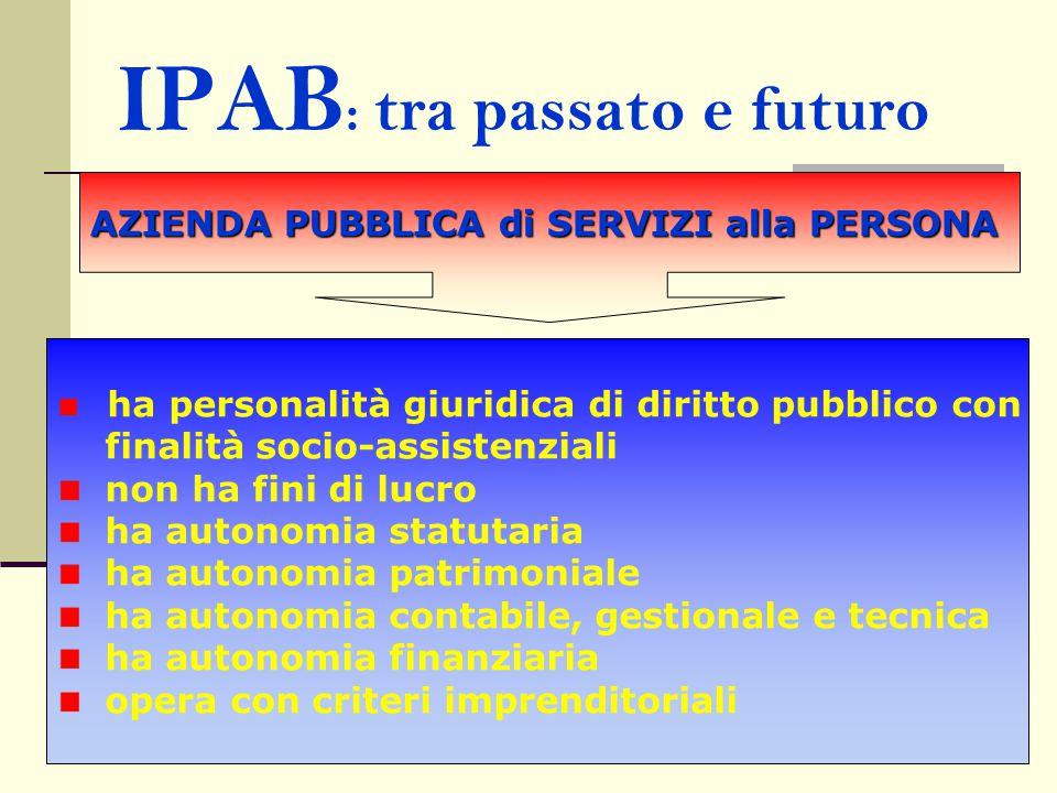 IPAB : tra passato e futuro AZIENDA PUBBLICA di SERVIZI alla PERSONA ha personalità giuridica di diritto pubblico con finalità socio-assistenziali non