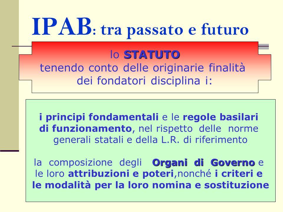 IPAB : tra passato e futuro i principi fondamentali e le regole basilari di funzionamento, nel rispetto delle norme generali statali e della L.R. di r