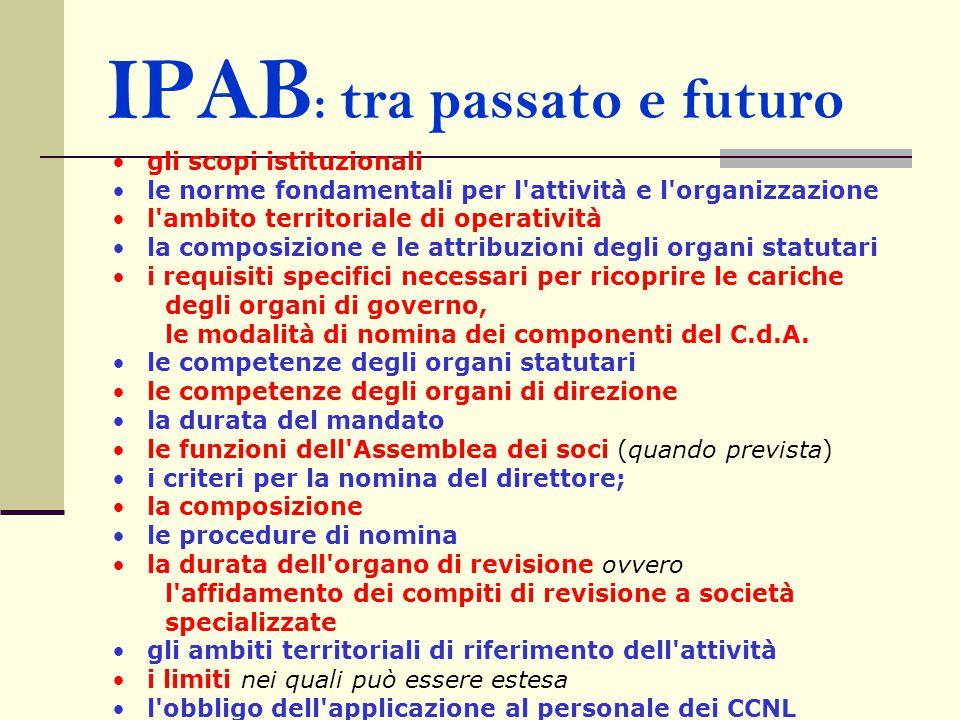 IPAB : tra passato e futuro gli scopi istituzionali le norme fondamentali per l'attività e l'organizzazione l'ambito territoriale di operatività la co