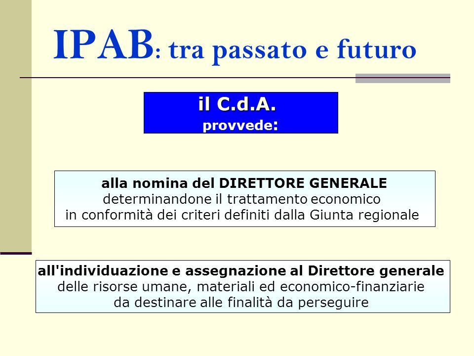 IPAB : tra passato e futuro il C.d.A. provvede : alla nomina del DIRETTORE GENERALE determinandone il trattamento economico in conformità dei criteri