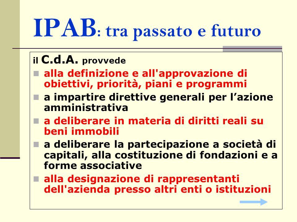 IPAB : tra passato e futuro il C.d.A. provvede alla definizione e all'approvazione di obiettivi, priorità, piani e programmi a impartire direttive gen