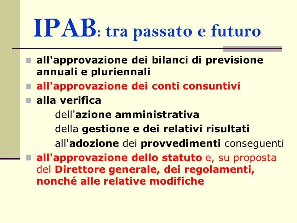IPAB : tra passato e futuro all'approvazione dei bilanci di previsione annuali e pluriennali all'approvazione dei conti consuntivi alla verifica dell'
