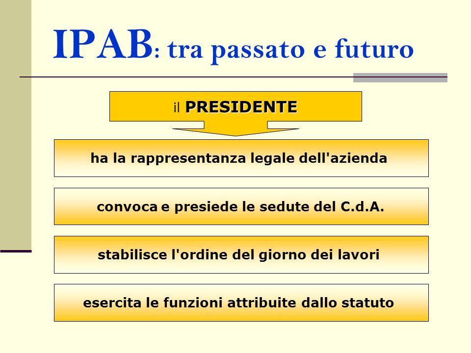 IPAB : tra passato e futuro PRESIDENTE il PRESIDENTE ha la rappresentanza legale dell'azienda convoca e presiede le sedute del C.d.A. stabilisce l'ord