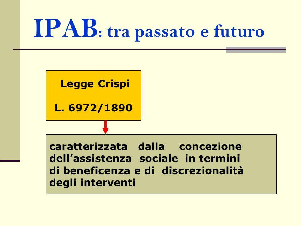 IPAB : tra passato e futuro Legge Crispi L. 6972/1890 caratterizzata dalla concezione dell'assistenza sociale in termini di beneficenza e di discrezio