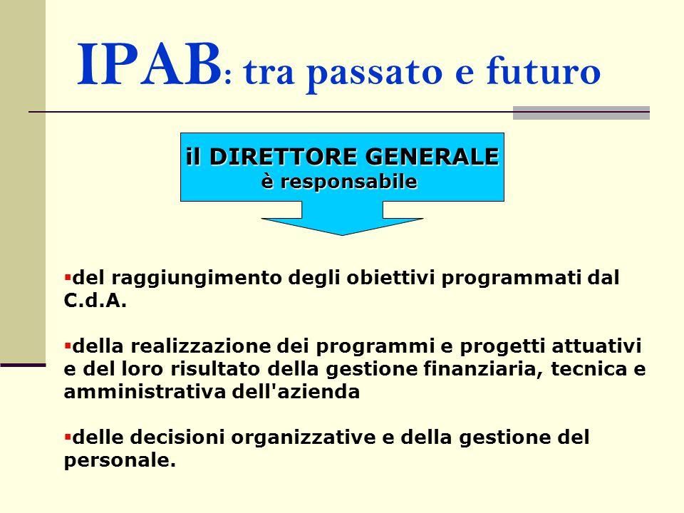 IPAB : tra passato e futuro il DIRETTORE GENERALE è responsabile  del raggiungimento degli obiettivi programmati dal C.d.A.  della realizzazione dei