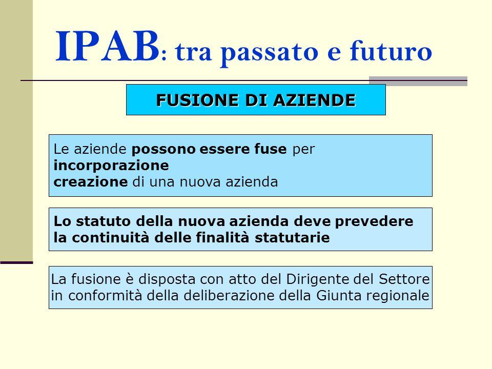IPAB : tra passato e futuro FUSIONE DI AZIENDE Le aziende possono essere fuse per incorporazione creazione di una nuova azienda Lo statuto della nuova