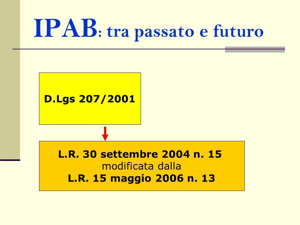 IPAB : tra passato e futuro D.Lgs 207/2001 L.R. 30 settembre 2004 n. 15 modificata dalla L.R. 15 maggio 2006 n. 13