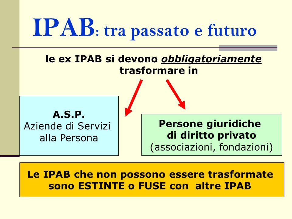 IPAB : tra passato e futuro le ex IPAB si devono obbligatoriamente trasformare in A.S.P. Aziende di Servizi alla Persona Persone giuridiche di diritto