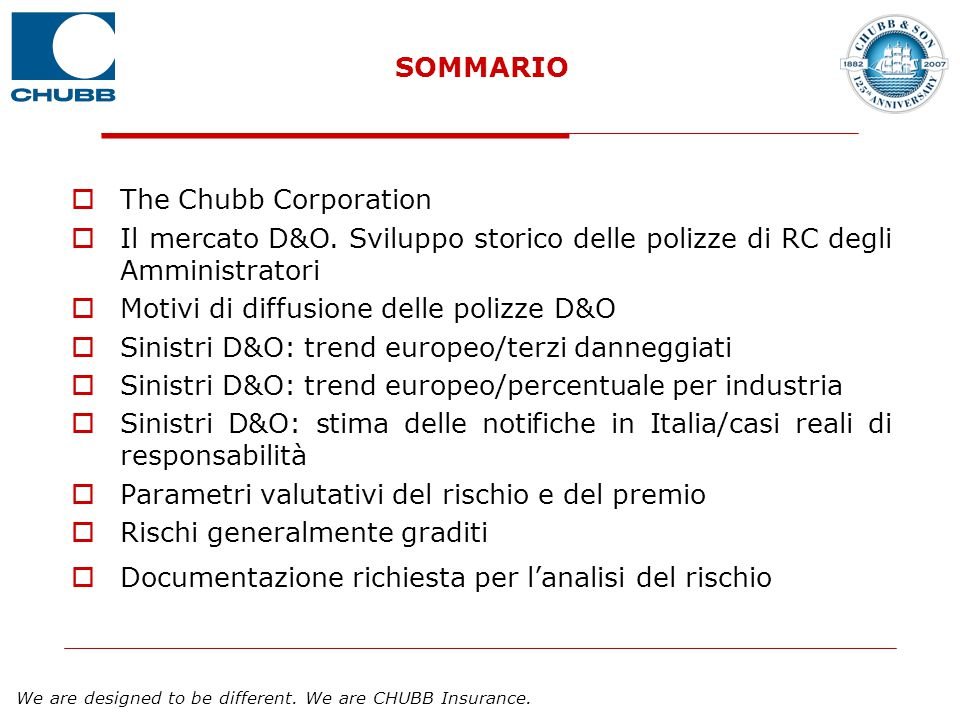 We are designed to be different. We are CHUBB Insurance. SOMMARIO  The Chubb Corporation  Il mercato D&O. Sviluppo storico delle polizze di RC degli