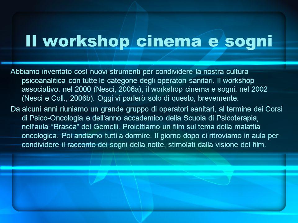 Il workshop cinema e sogni Abbiamo inventato così nuovi strumenti per condividere la nostra cultura psicoanalitica con tutte le categorie degli operatori sanitari.