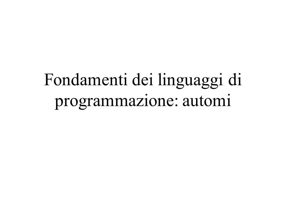 Fondamenti dei linguaggi di programmazione: automi