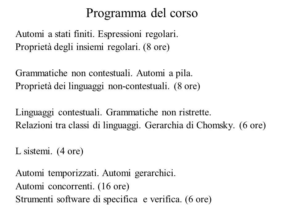 Riferimenti Hopcroft, J.E., Ullman J.D., Introduction to Automata Theory, Languages, and Computation, Addison Wesley, Reading, Mass., 1979.