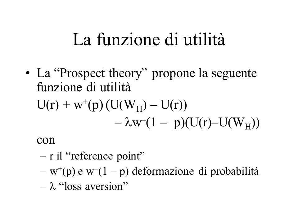 """La funzione di utilità La """"Prospect theory"""" propone la seguente funzione di utilità U(r) + w + (p) (U(W H ) – U(r)) – w – (1 – p)(U(r)–U(W H )) con –r"""