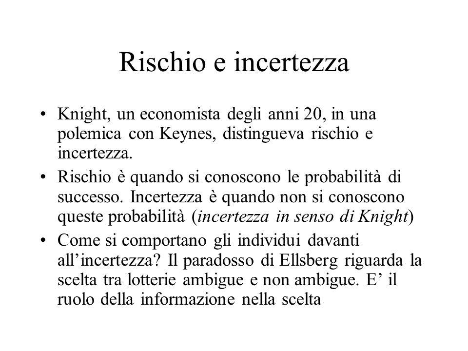 Rischio e incertezza Knight, un economista degli anni 20, in una polemica con Keynes, distingueva rischio e incertezza. Rischio è quando si conoscono