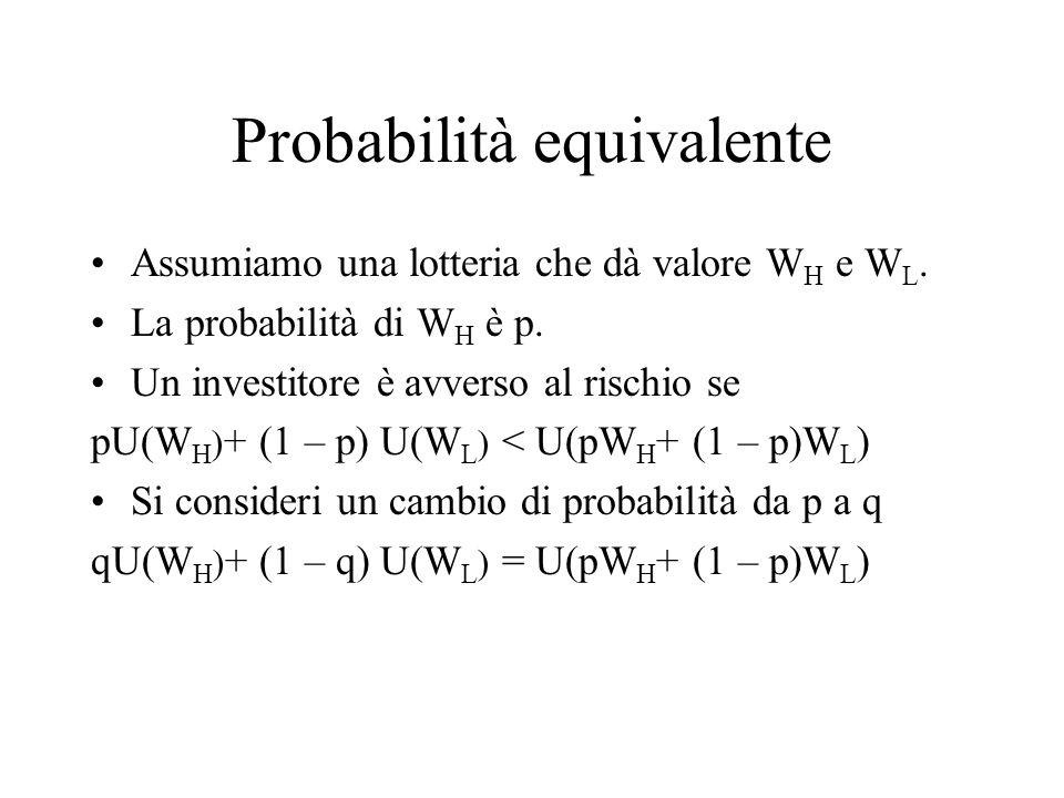 Probabilità equivalente Assumiamo una lotteria che dà valore W H e W L. La probabilità di W H è p. Un investitore è avverso al rischio se pU(W H ) + (