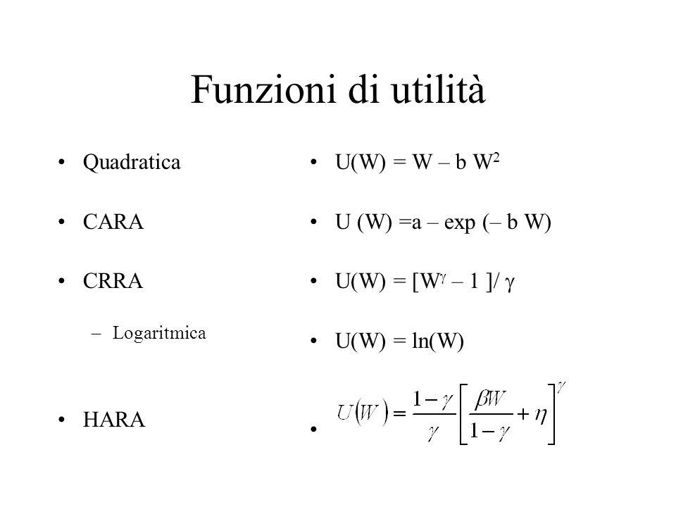 Funzioni di utilità Quadratica CARA CRRA –Logaritmica HARA U(W) = W – b W 2 U (W) =a – exp (– b W) U(W) = [W  – 1 ]/  U(W) = ln(W)