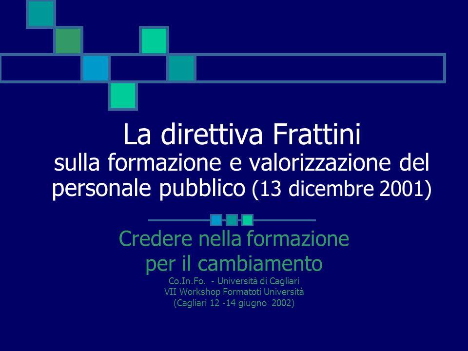 La direttiva Frattini sulla formazione e valorizzazione del personale pubblico (13 dicembre 2001) Credere nella formazione per il cambiamento Co.In.Fo