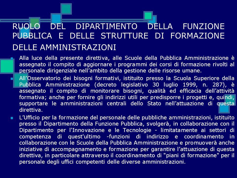RUOLO DEL DIPARTIMENTO DELLA FUNZIONE PUBBLICA E DELLE STRUTTURE DI FORMAZIONE DELLE AMMINISTRAZIONI Alla luce della presente direttiva, alle Scuole d