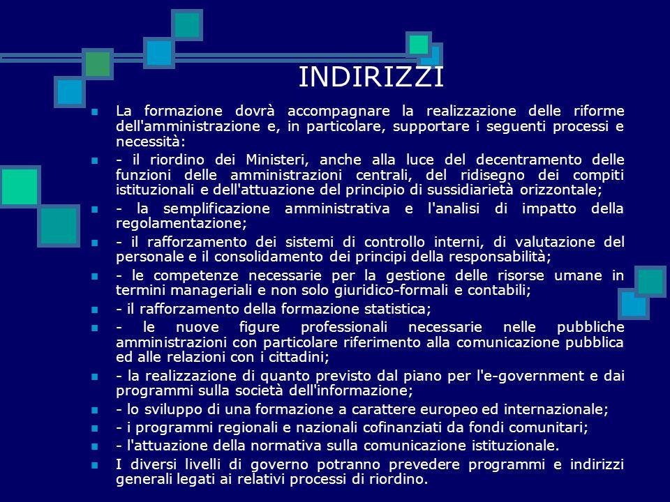 INDIRIZZI La formazione dovrà accompagnare la realizzazione delle riforme dell'amministrazione e, in particolare, supportare i seguenti processi e nec