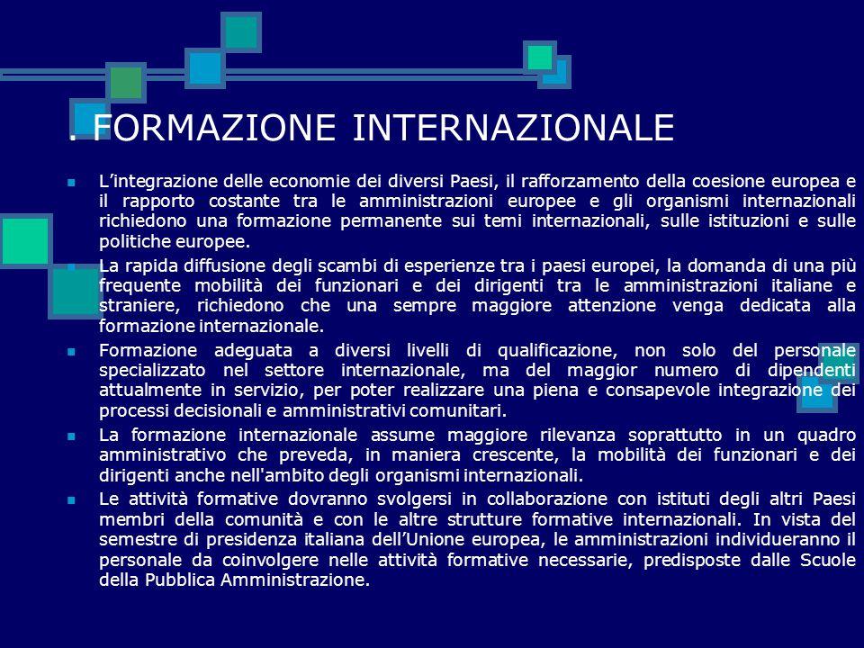 . FORMAZIONE INTERNAZIONALE L'integrazione delle economie dei diversi Paesi, il rafforzamento della coesione europea e il rapporto costante tra le amm