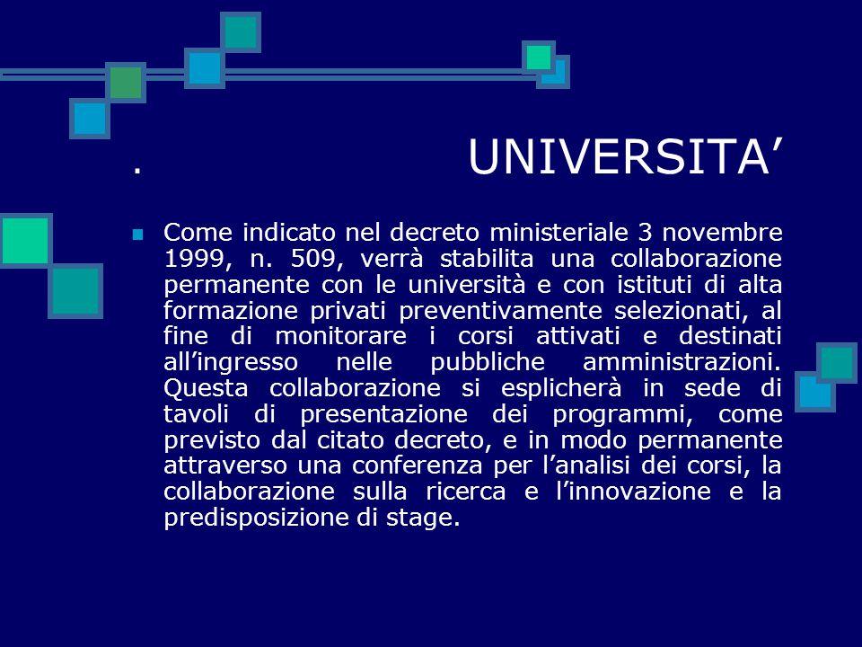 . UNIVERSITA' Come indicato nel decreto ministeriale 3 novembre 1999, n. 509, verrà stabilita una collaborazione permanente con le università e con is