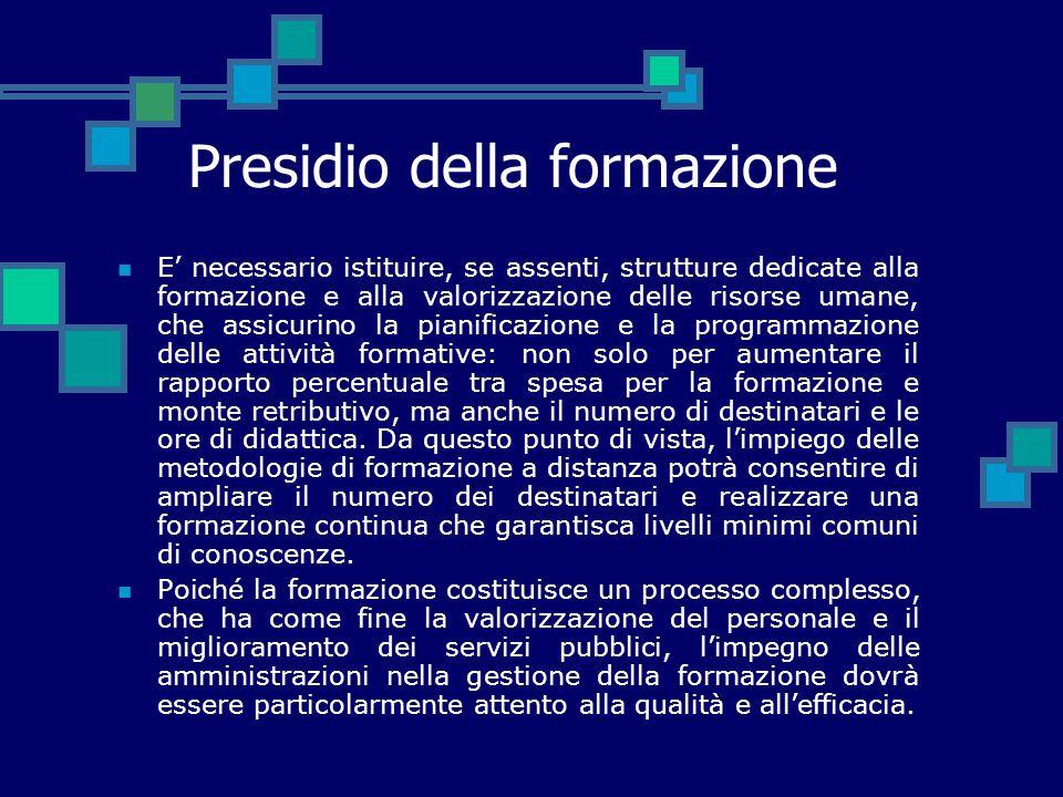 Presidio della formazione E' necessario istituire, se assenti, strutture dedicate alla formazione e alla valorizzazione delle risorse umane, che assic