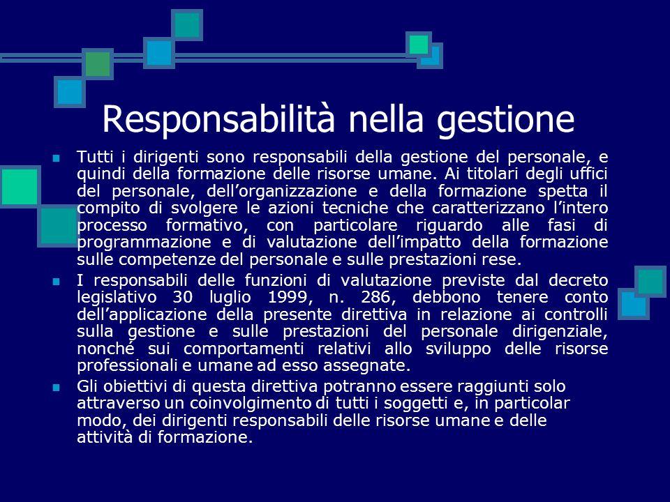 Responsabilità nella gestione Tutti i dirigenti sono responsabili della gestione del personale, e quindi della formazione delle risorse umane. Ai tito