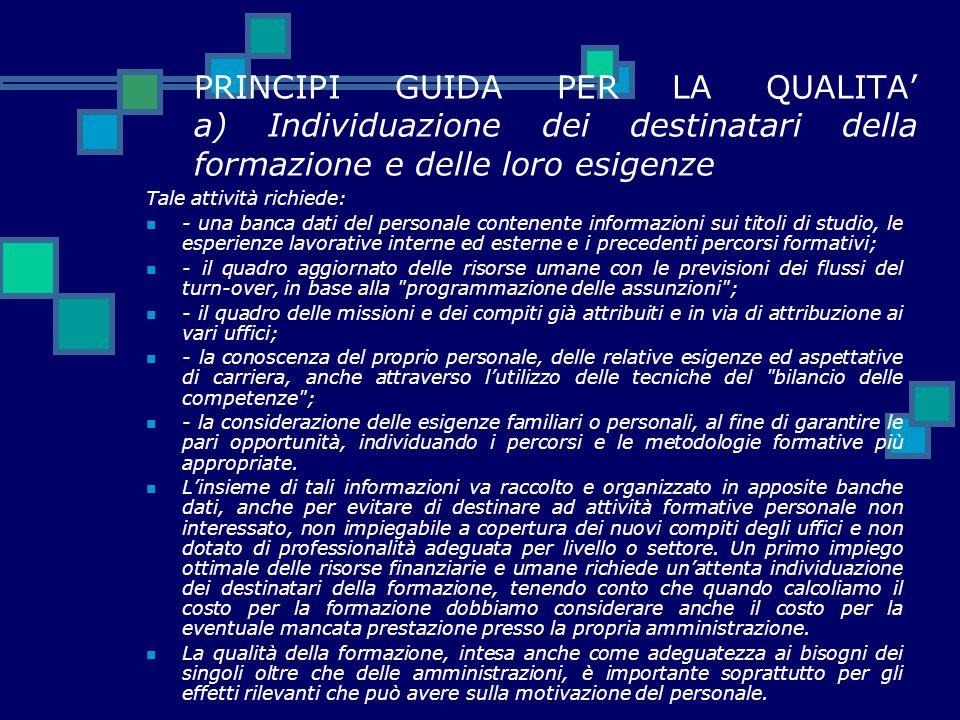 PRINCIPI GUIDA PER LA QUALITA' a) Individuazione dei destinatari della formazione e delle loro esigenze Tale attività richiede: - una banca dati del p