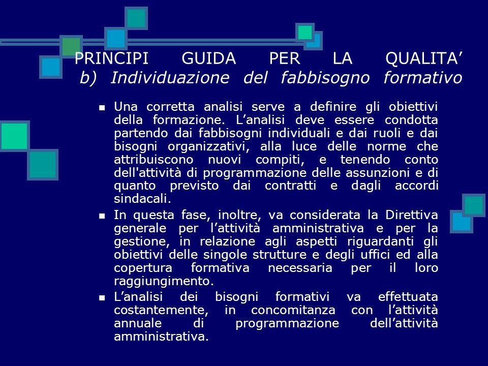 PRINCIPI GUIDA PER LA QUALITA' b) Individuazione del fabbisogno formativo Una corretta analisi serve a definire gli obiettivi della formazione. L'anal