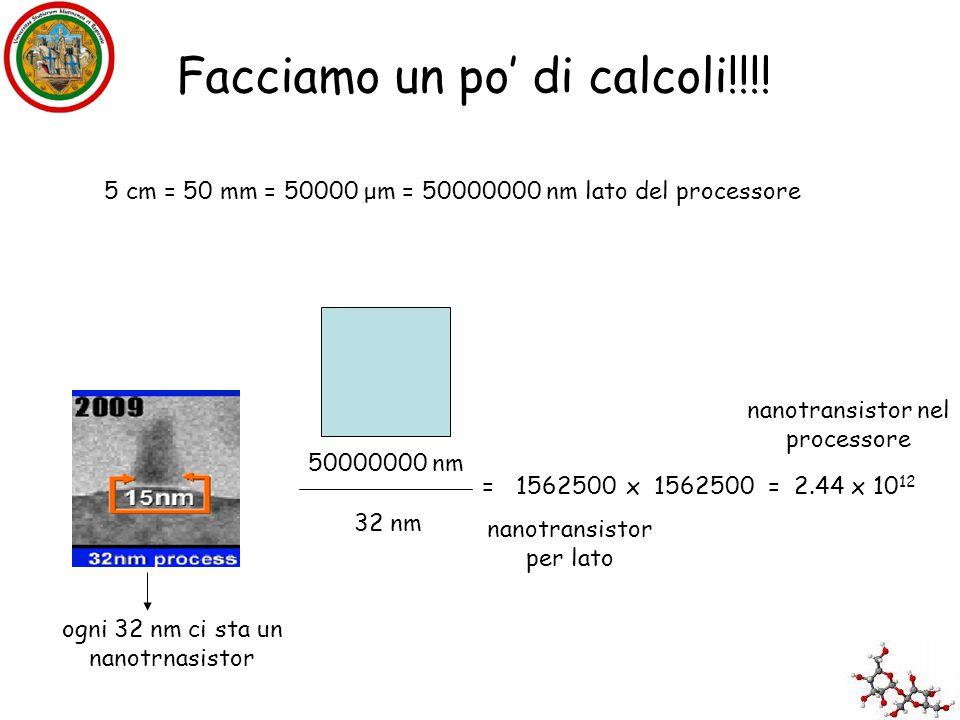 Facciamo un po' di calcoli!!!! 5 cm = 50 mm = 50000 μm = 50000000 nm lato del processore 50000000 nm ogni 32 nm ci sta un nanotrnasistor 32 nm = 15625