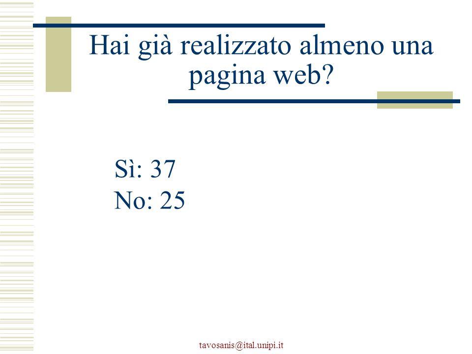 tavosanis@ital.unipi.it Hai già realizzato almeno una pagina web Sì: 37 No: 25