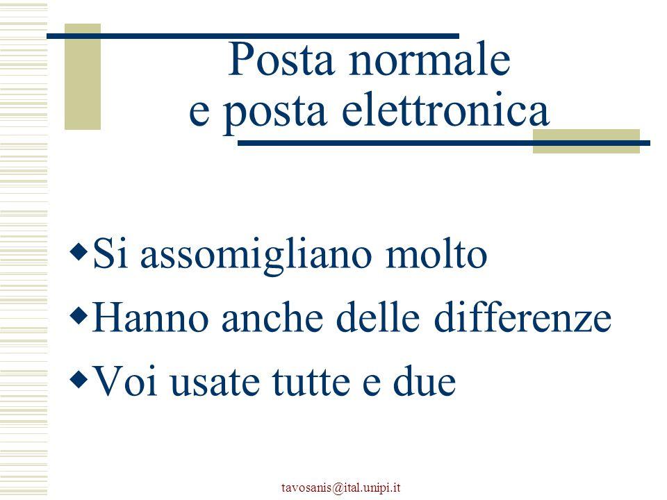 tavosanis@ital.unipi.it Posta normale e posta elettronica  Si assomigliano molto  Hanno anche delle differenze  Voi usate tutte e due