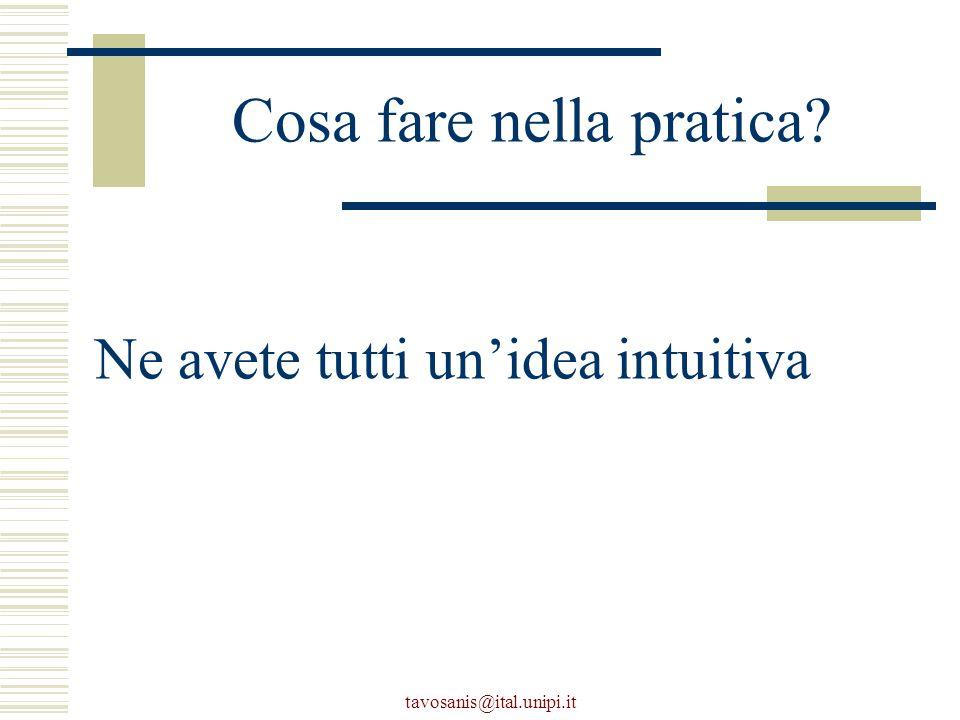 tavosanis@ital.unipi.it Cosa fare nella pratica Ne avete tutti un'idea intuitiva