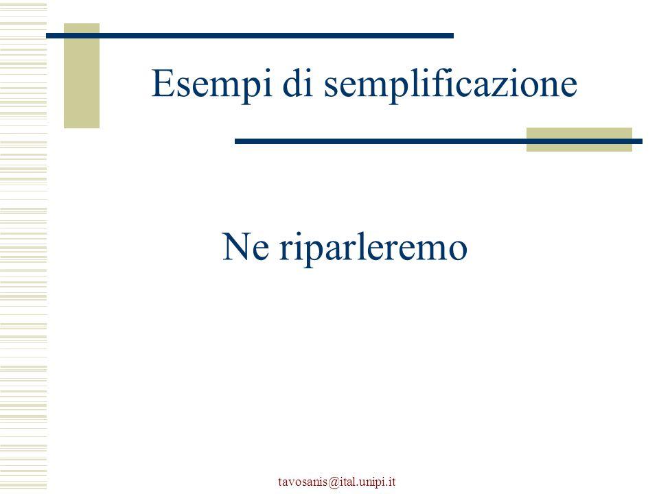 tavosanis@ital.unipi.it Esempi di semplificazione Ne riparleremo