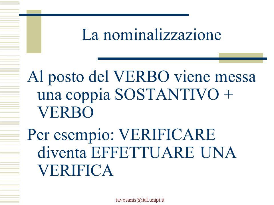 tavosanis@ital.unipi.it La nominalizzazione Al posto del VERBO viene messa una coppia SOSTANTIVO + VERBO Per esempio: VERIFICARE diventa EFFETTUARE UNA VERIFICA
