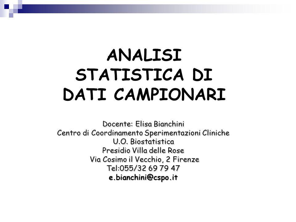 ANALISI STATISTICA DI DATI CAMPIONARI Docente: Elisa Bianchini Centro di Coordinamento Sperimentazioni Cliniche U.O.