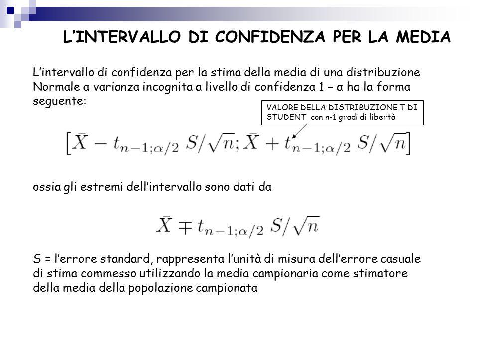L'INTERVALLO DI CONFIDENZA PER LA MEDIA L'intervallo di confidenza per la stima della media di una distribuzione Normale a varianza incognita a livello di confidenza 1 − α ha la forma seguente: ossia gli estremi dell'intervallo sono dati da S = l'errore standard, rappresenta l'unità di misura dell'errore casuale di stima commesso utilizzando la media campionaria come stimatore della media della popolazione campionata VALORE DELLA DISTRIBUZIONE T DI STUDENT con n-1 gradi di libertà