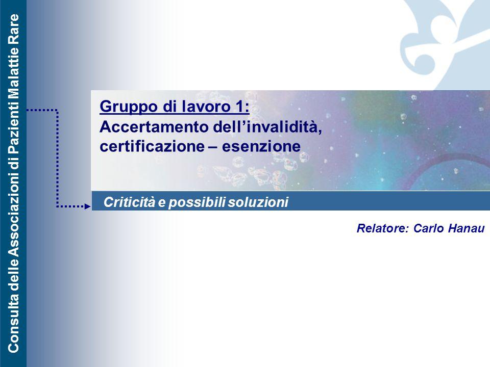 Consulta delle Associazioni di Pazienti Malattie Rare Gruppo di lavoro 1: Accertamento dell'invalidità, certificazione – esenzione Relatore: Carlo Han