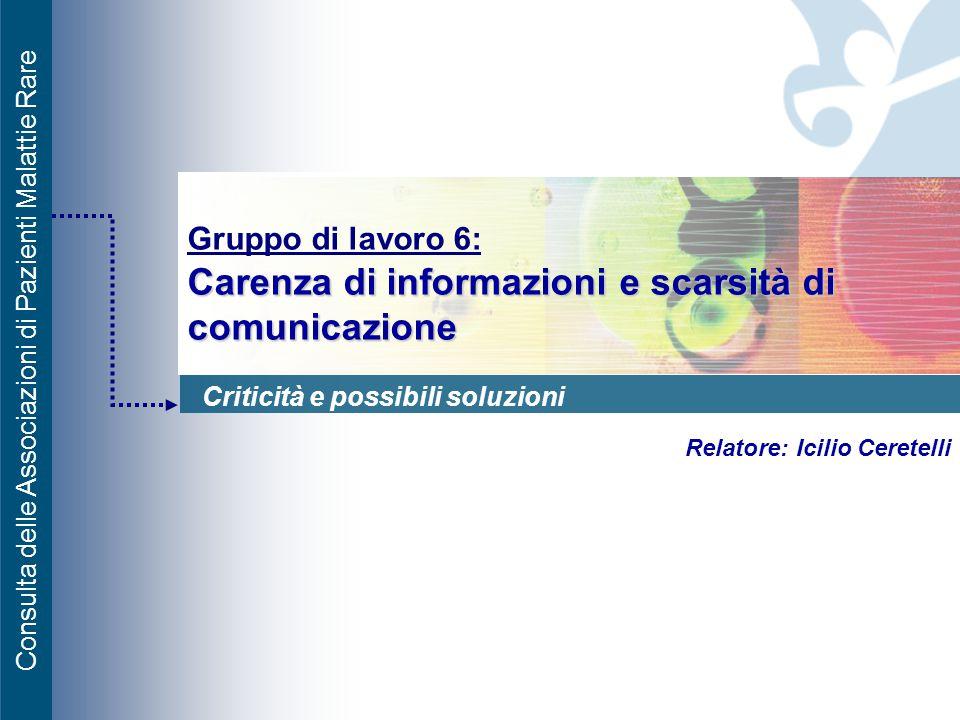Consulta delle Associazioni di Pazienti Malattie Rare Carenza di informazioni e scarsità di comunicazione Gruppo di lavoro 6: Carenza di informazioni