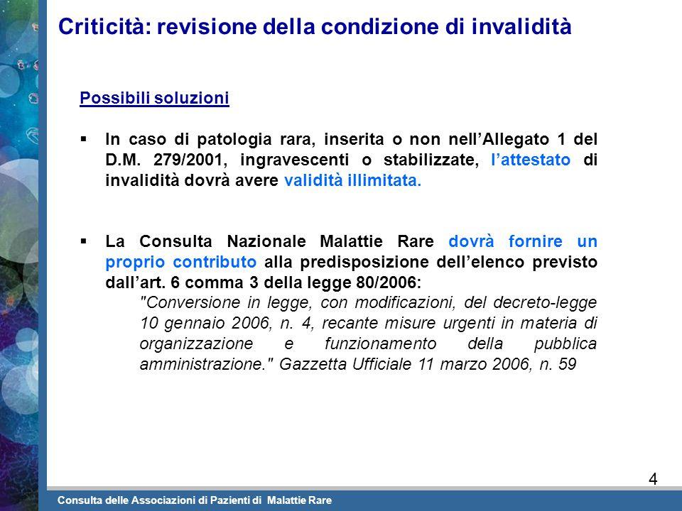 Criticità: revisione della condizione di invalidità Possibili soluzioni  In caso di patologia rara, inserita o non nell'Allegato 1 del D.M. 279/2001,