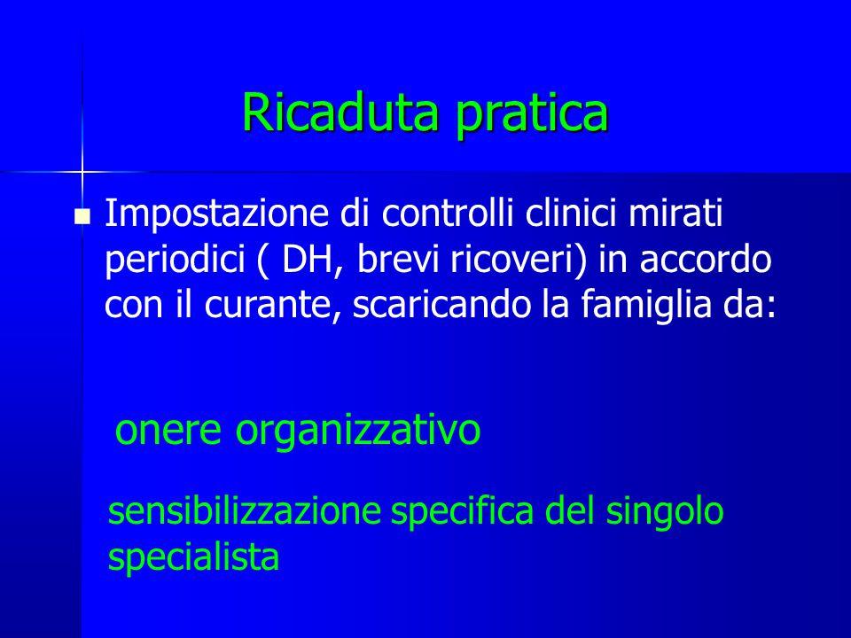 Ricaduta pratica Impostazione di controlli clinici mirati periodici ( DH, brevi ricoveri) in accordo con il curante, scaricando la famiglia da: onere