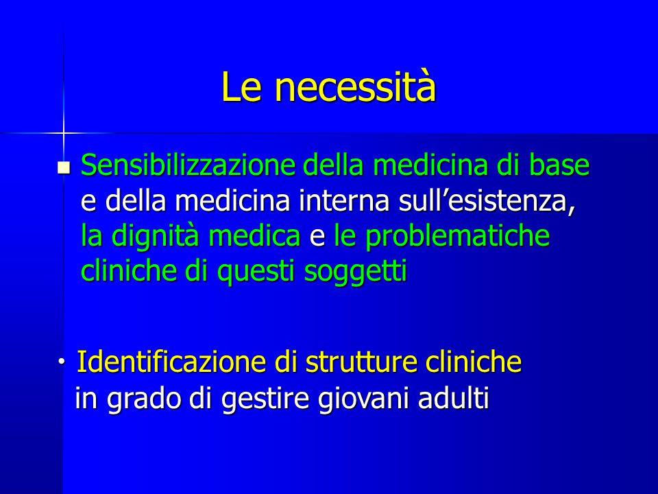 Le necessità Sensibilizzazione della medicina di base e della medicina interna sull'esistenza, la dignità medica e le problematiche cliniche di questi