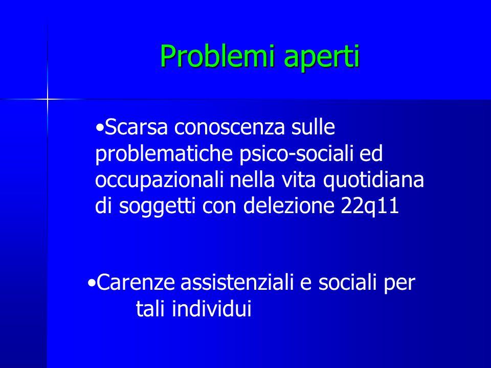 Problemi aperti Carenze assistenziali e sociali per tali individui Scarsa conoscenza sulle problematiche psico-sociali ed occupazionali nella vita quotidiana di soggetti con delezione 22q11