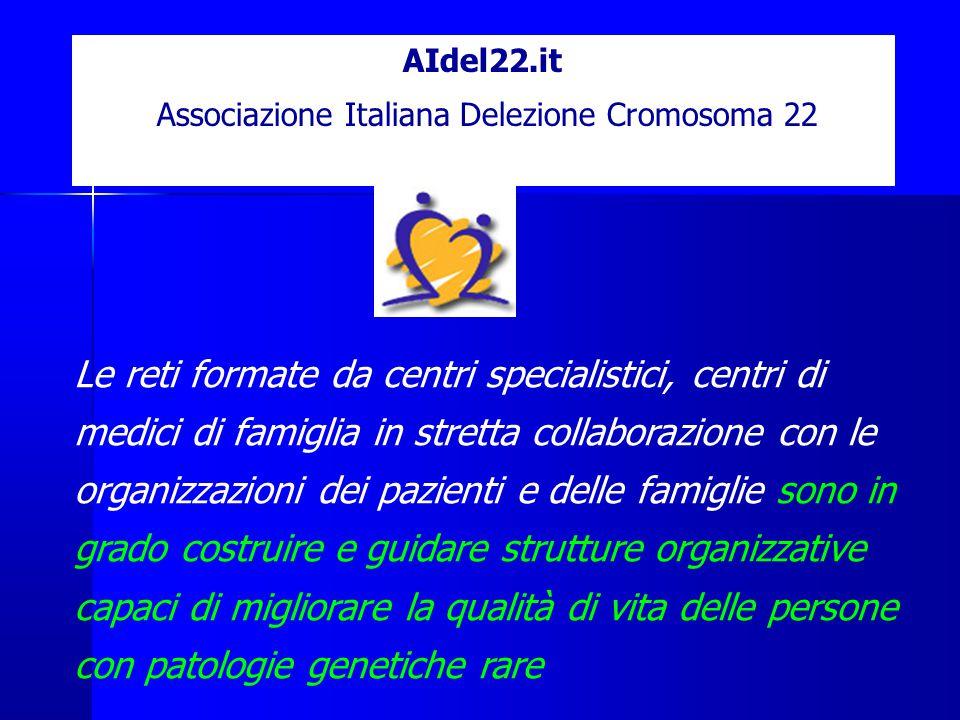 AIdel22.it Associazione Italiana Delezione Cromosoma 22 Le reti formate da centri specialistici, centri di medici di famiglia in stretta collaborazione con le organizzazioni dei pazienti e delle famiglie sono in grado costruire e guidare strutture organizzative capaci di migliorare la qualità di vita delle persone con patologie genetiche rare