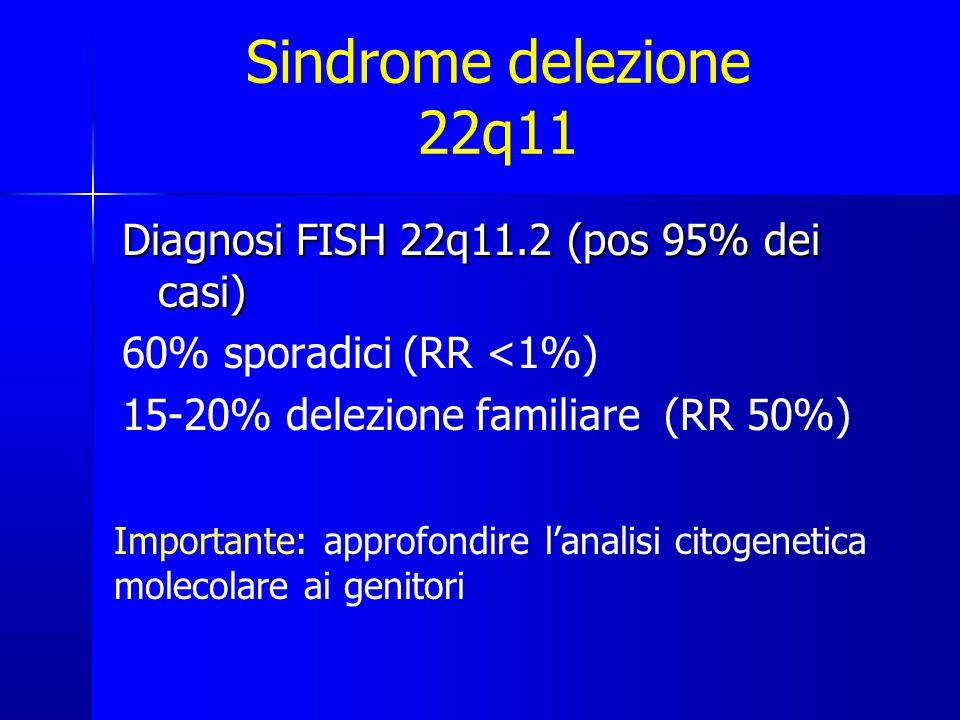 Diagnosi FISH 22q11.2 (pos 95% dei casi) 60% sporadici (RR <1%) 15-20% delezione familiare (RR 50%) Importante: approfondire l'analisi citogenetica molecolare ai genitori Sindrome delezione 22q11