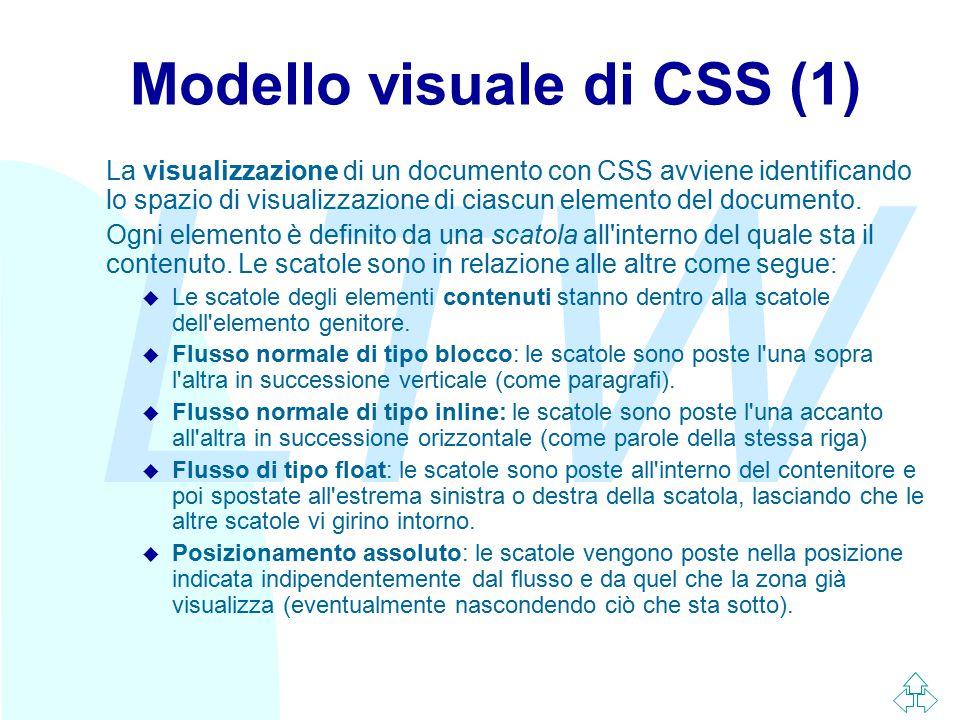 LTW Modello visuale di CSS (1) La visualizzazione di un documento con CSS avviene identificando lo spazio di visualizzazione di ciascun elemento del d