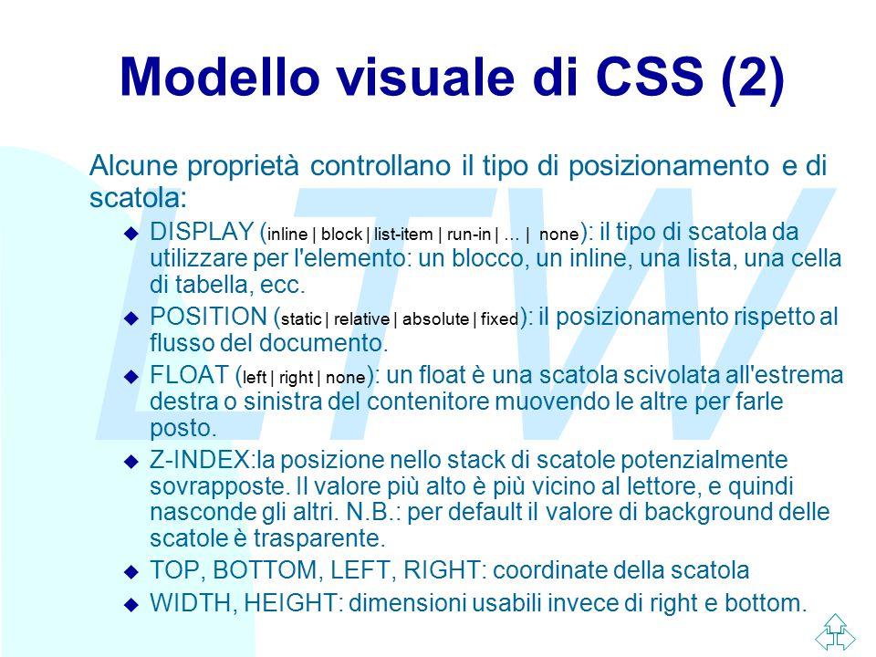 LTW Modello visuale di CSS (2) Alcune proprietà controllano il tipo di posizionamento e di scatola:  DISPLAY ( inline | block | list-item | run-in |